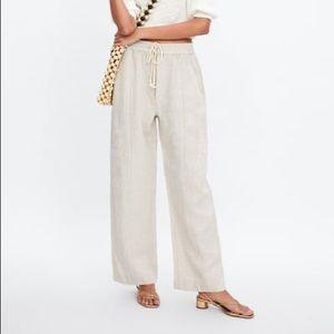 Zara Flax Linen Drawstring Trousers